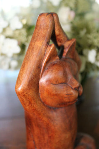 Bali Cat Buddha Statue Meditating Yoga Lotus Wood Carving Feline Balinese Art - Acadia World Traders