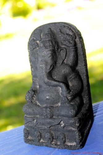 "Ganesha Mini Garden Statue Remover Obstacles Cast Lava stone Bali art 4"" - Acadia World Traders"