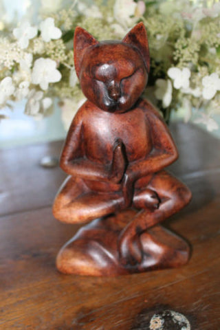 Bali Cat Yoga Statue Carved Wood Lotus Buddha meditating Feline Balinese Art - Acadia World Traders