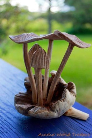 Magic Bali Mushroom hand carved  Parasite Wood - Acadia World Traders