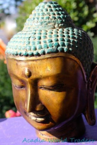 "Serenity Buddha head Bust Statue Bali art Handmade cast Bronze Sculpture 8"" - Acadia World Traders"