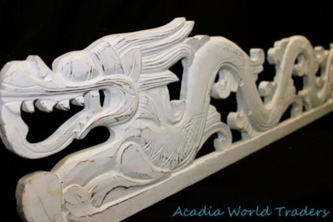 "Balinese Dragon Naga Panel Whitewash Rustic carved wood Bali Wall Art left 39"" - Acadia World Traders"