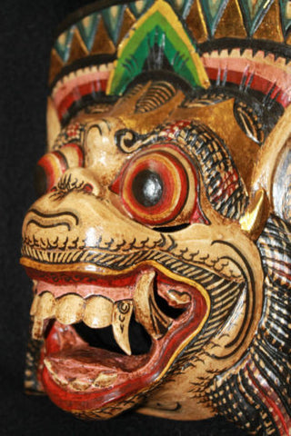 Balinese Demon Mask Hanuman Monkey Topeng~Bali Wall Art hand carved wood 10""