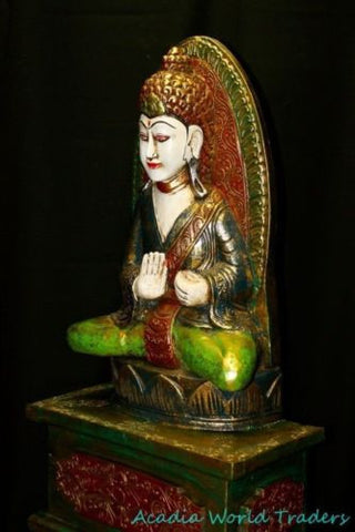 "Balinese Shrine Buddha Meditating Sculpture Statue Hand carved wood Bali ART 32"" - Acadia World Traders"