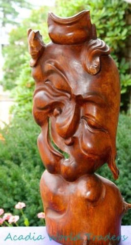 Balinese Abstract Twisted Man Face Mask Wood Carving Sculpture Bali Wall Art 22""