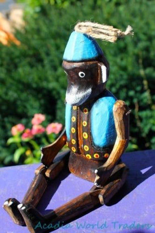 Fez Monkey puppet shelf sitter Ornament Balinese art Handmade Carved wood Blue - Acadia World Traders