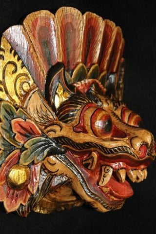 Balinese Mask Guardian Singa Lion Barong Topeng~Demon~Bali Wall Art carved wood - Acadia World Traders