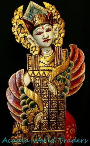 Balinese Wood architectural Panel Peacock Dancers Hand carved Bali wall art  2pc - Acadia World Traders