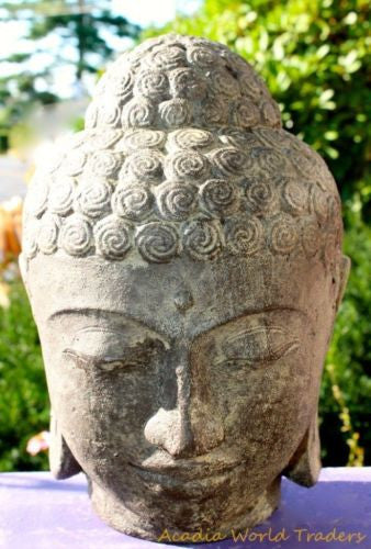 Serene Buddha Head Garden Statue Sculpture Cast Lava Stone   Acadia World  Traders