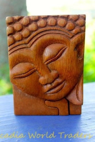 Buddha secret puzzle Box Stash Trinket jewelry hand carved wood Bali art - Acadia World Traders