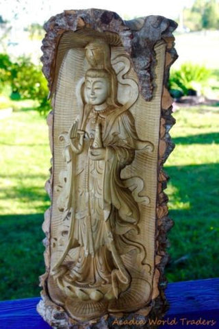 Kwan Yin Statue Buddha Goddess of Compassion Sculpture Hand Carved Wood Bali Art - Acadia World Traders