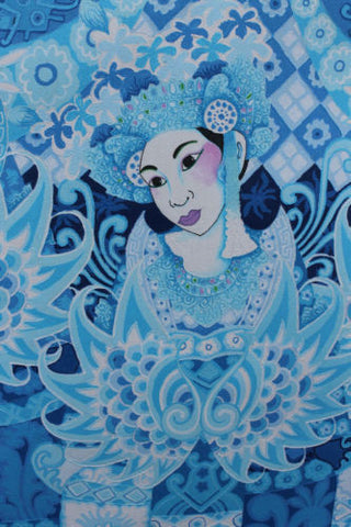"Balinese PEACOCK Dancers Painting Signed Ubud Ubud Modern Art blue 35""x 27"" - Acadia World Traders"