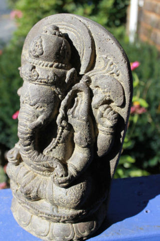 Balinese Ganesh Garden Statue cast stone Elephant God Sculpture - Acadia World Traders