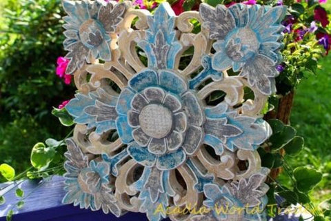 "Balinese Blue Lotus Panel Hand Carved Wood Bali architectural Wall Art 15"" - Acadia World Traders"
