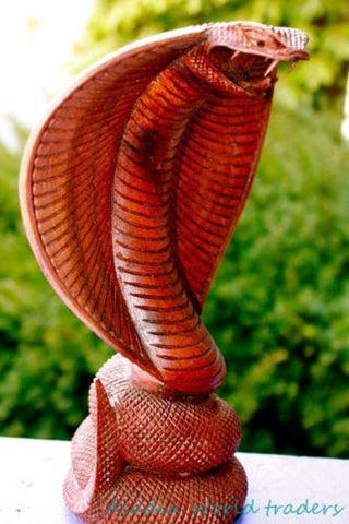 "Hooded Cobra Snake Wood carving 13"" - Acadia World Traders"