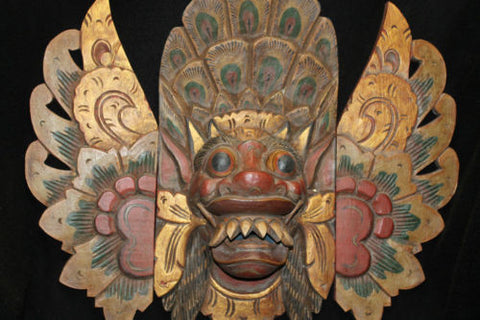 Balinese Barong Sai Mask Boma Topeng Hand Carved Wood Bali art guardian 25""