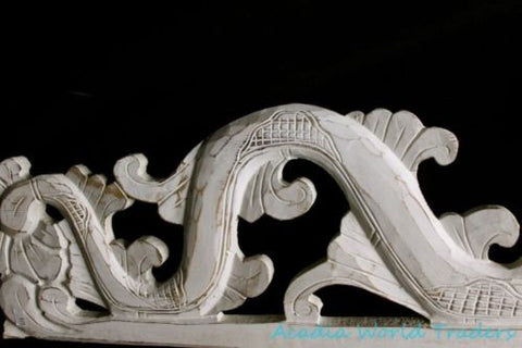 "Balinese Dragon Naga Panel Whitewash Rustic~carved wood~Bali Wall Art Right 39"" - Acadia World Traders"