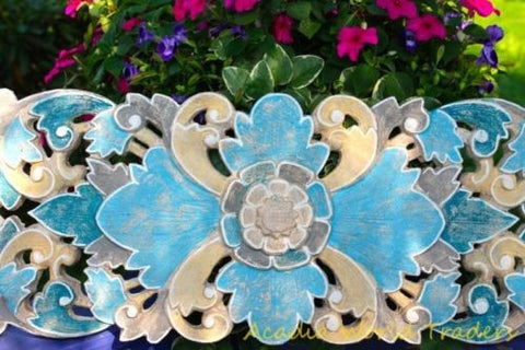 Balinese Lotus Panel Hand Carved Wood Bali architectural Wall Art Blues Whites - Acadia World Traders