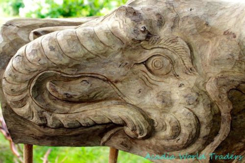 Rustic Ganesh Elephant Wood Carving Hollow Tree Sculpture Bali art OOAK - Acadia World Traders