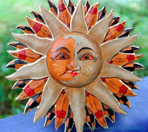 "SUN Burst Wall Art Half MOON Celestial Balinese Batik hand Carved Bali 8"" - Acadia World Traders"