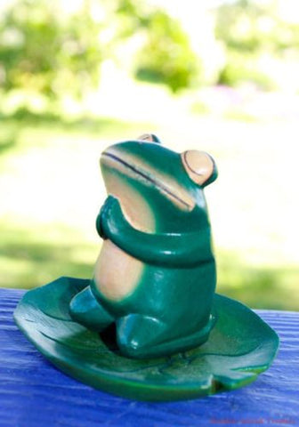 Balinese Buddha FROG on Lily Pad Bali Hand Carved wood Folk Art Green - Acadia World Traders