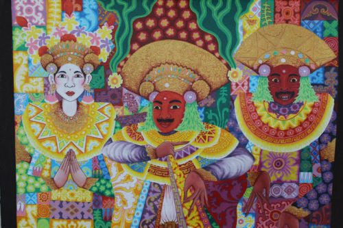 "Balinese Baris Dancers Acrylic Painting Signed Ubud Bali original Wall Art 31"" - Acadia World Traders"
