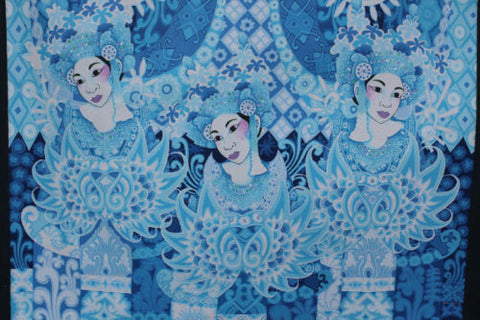 "Balinese PEACOCK Dancers Painting Signed Ubud Ubud Modern Art blue 35""x 27"""
