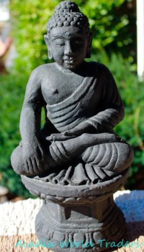 "Touching the Earth Buddha Garden Statue Lotus caste lava stone Bali Yard Art 12"" - Acadia World Traders"