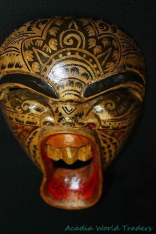 "Balinese Laughing Demon Mask Tattoo Bali Wall Art hand carved wood Beige 9.5"" - Acadia World Traders"