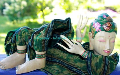 Buddha Tattoo Doll Puppet Figure Hand Painted Hand Carved Wood ikat Balinese - Acadia World Traders