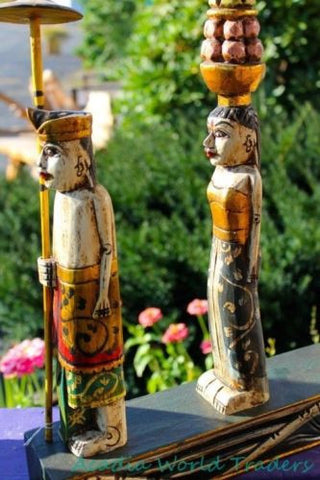 Balinese Figures Melasti Ceremony Wood Carving Bali Folk art Statue Sculpture - Acadia World Traders