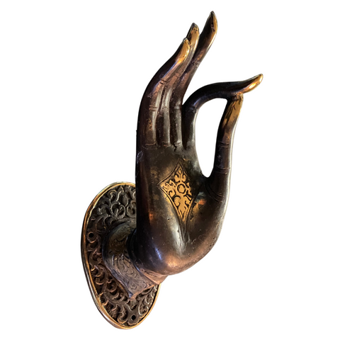Buddha Abhaya Mudra Handle door pull Knob Hook Chocolate Bronze Balinese