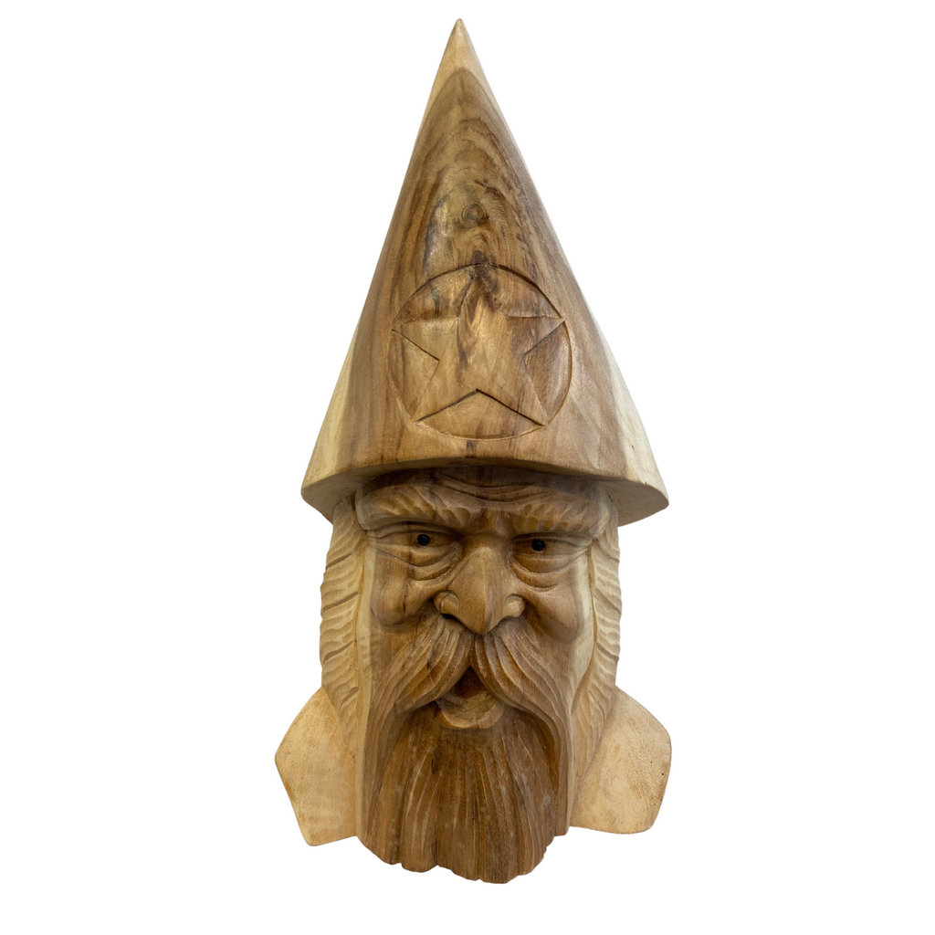 Forest Spirit Wizard Bust sculpture, hand carved from suar wood