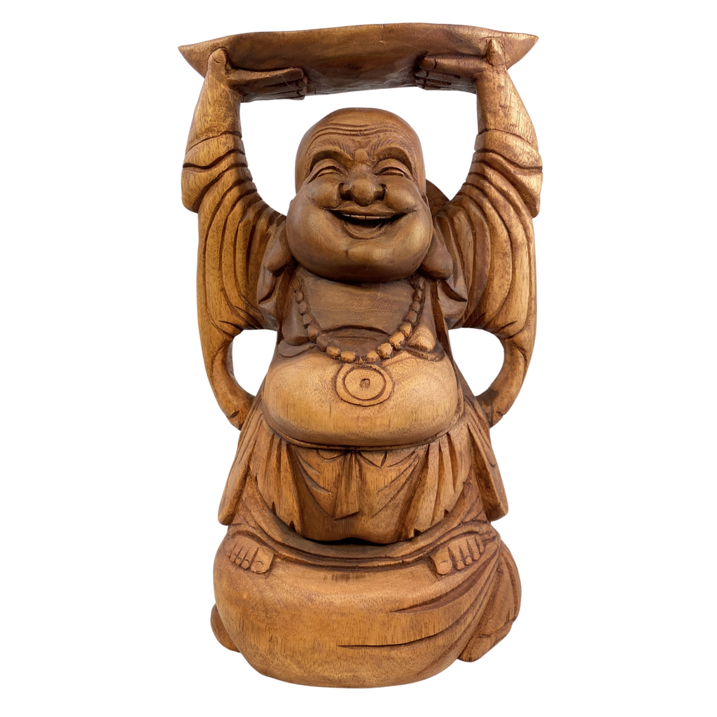 Hotei Laughing Buddha Statue hand carved suar wood Sculpture
