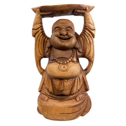 Hotei Laughing Buddha Statue hand carved suar wood Sculpture  Bali Art