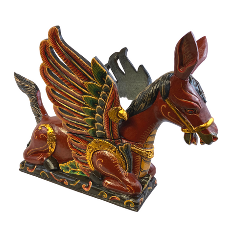 Balinese Winged Horse Statue Temple Guardian Sculpture carved wood Bali art