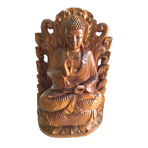 Teaching Buddha Sculpture Vitarka Mudra Balinese  Wood Carving