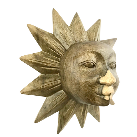 Sunburst Sun Surya Mask Wall art Sculpture Handmade Carved Wood Bali Art