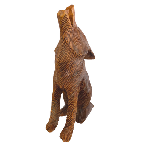 Howling Wolf Pup Wildlife wood carving sculpture
