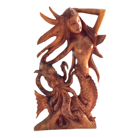 Mermaid Octopus Kraken Sculpture Wood Carving Statue Hand Carved Balinese Art