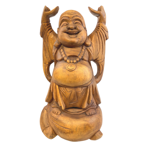 Joyful Buddha Statue Prosperity Hotei Budai hand carved Wood Sculpture Bali Art