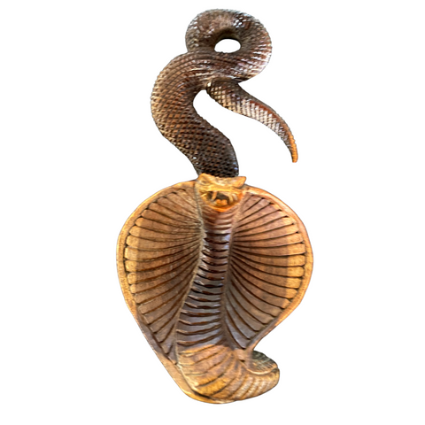 Hooded Cobra Snake Sculpture Handmade Carved suar wood statue  Bali Art 8""