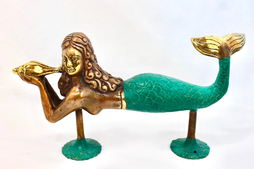 Mermaid Bronze Door Handle Knob Pull handmade Verdigris Green Bali Art - Acadia World Traders