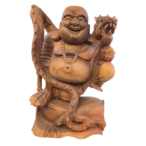 Buddha with Dragon Statue Balinese hand carved wood Sculpture Art
