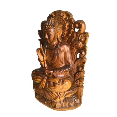 Teaching Buddha Sculpture Vitarka Mudra handmade Bali Wood Carving
