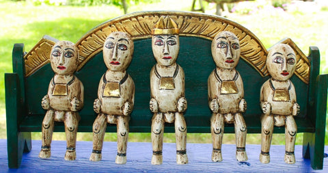 Balinese Agung Family Bali Folk Art Figures statue handmade wood carving - Acadia World Traders