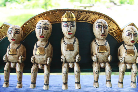 Balinese Agung Family Bali Folk Art Figures statue handmade wood carving
