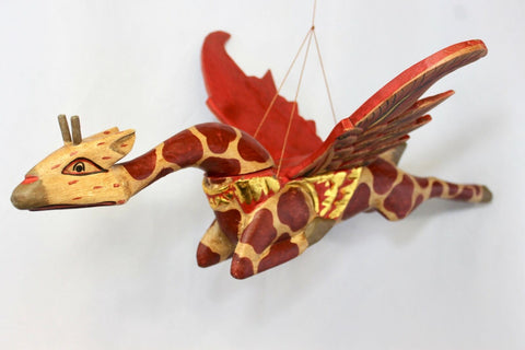 Winged Giraffe Mobile Flying Spirit Demon Chaser Carved wood Balinese Folk Art - Acadia World Traders