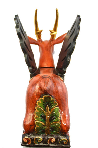 Balinese Winged Deer Statue Temple Guardian Sculpture hand carved wood Bali art - Acadia World Traders