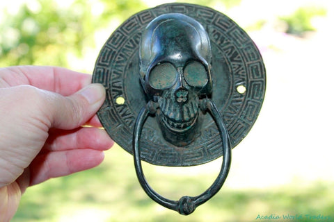 Vintage Gothic Skull Door Knocker Handle Verdigris Cast Bronze Balinese Art